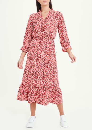 3/4 Sleeve Red Floral Frill Midi Dress