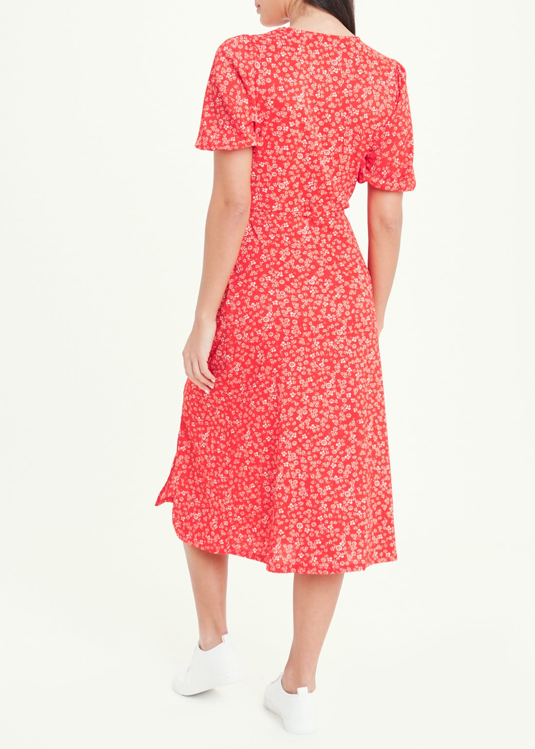 Red Puff Sleeve Ditsy Floral Midi Dress