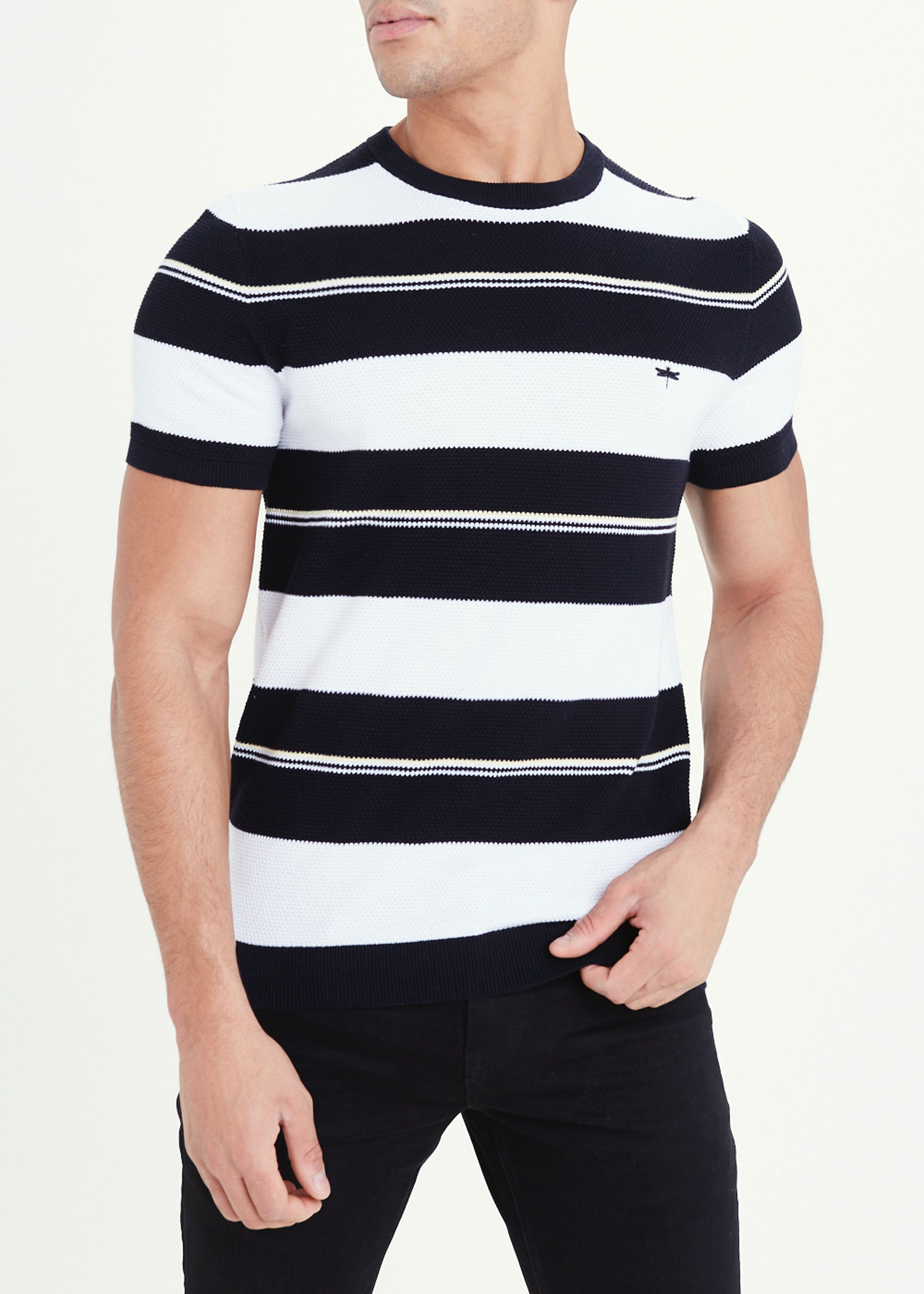 Short Sleeve Knitted T-Shirt Navy EiChP5