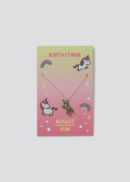 Girls August Unicorn Birthstone Necklace