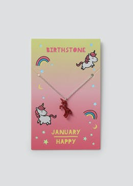 Girls January Unicorn Birthstone Necklace