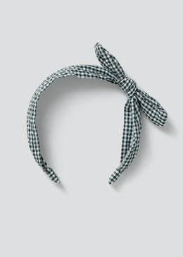 Girls Back to School Green Gingham Headband