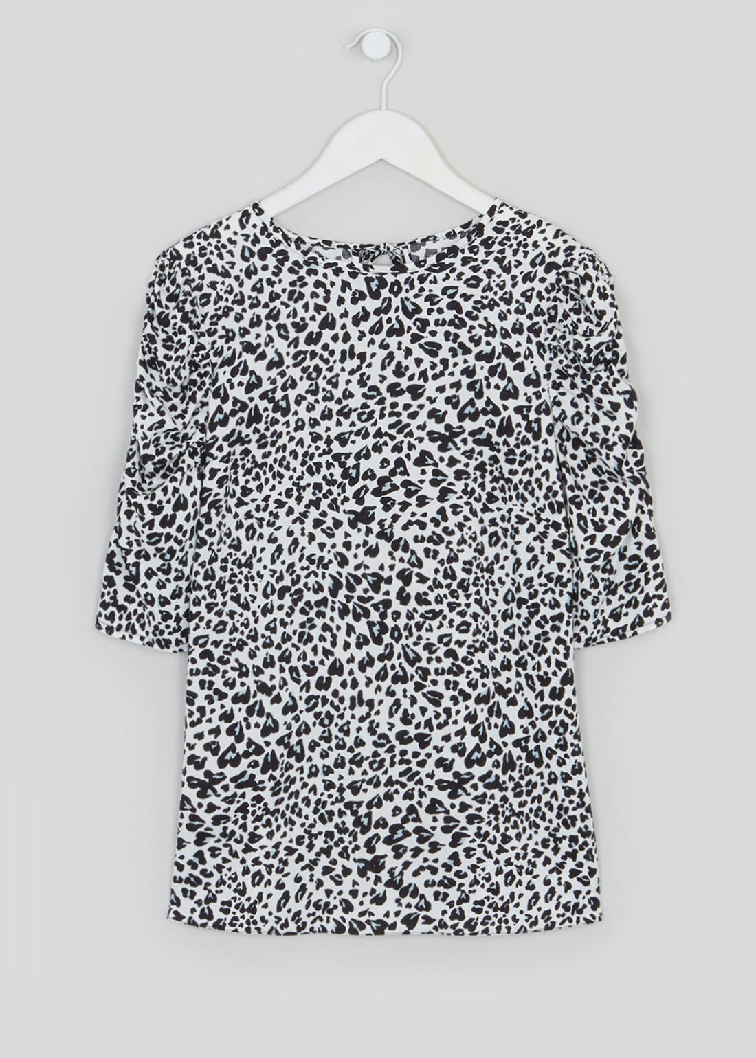Ruched Short Sleeve Animal Print Top