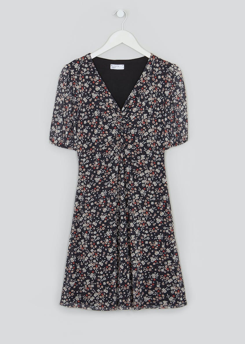 Ditsy Floral Ruched Mesh Mini Dress