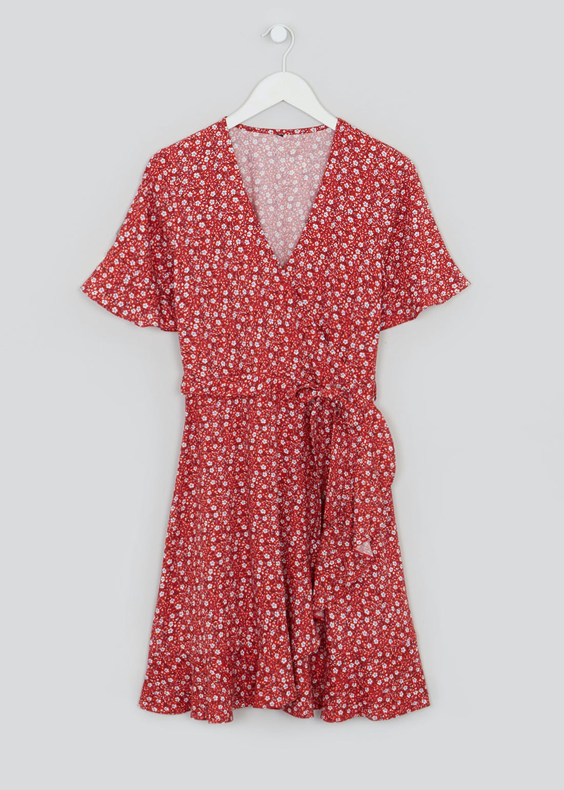 Red Short Sleeve Ditsy Floral Wrap Dress