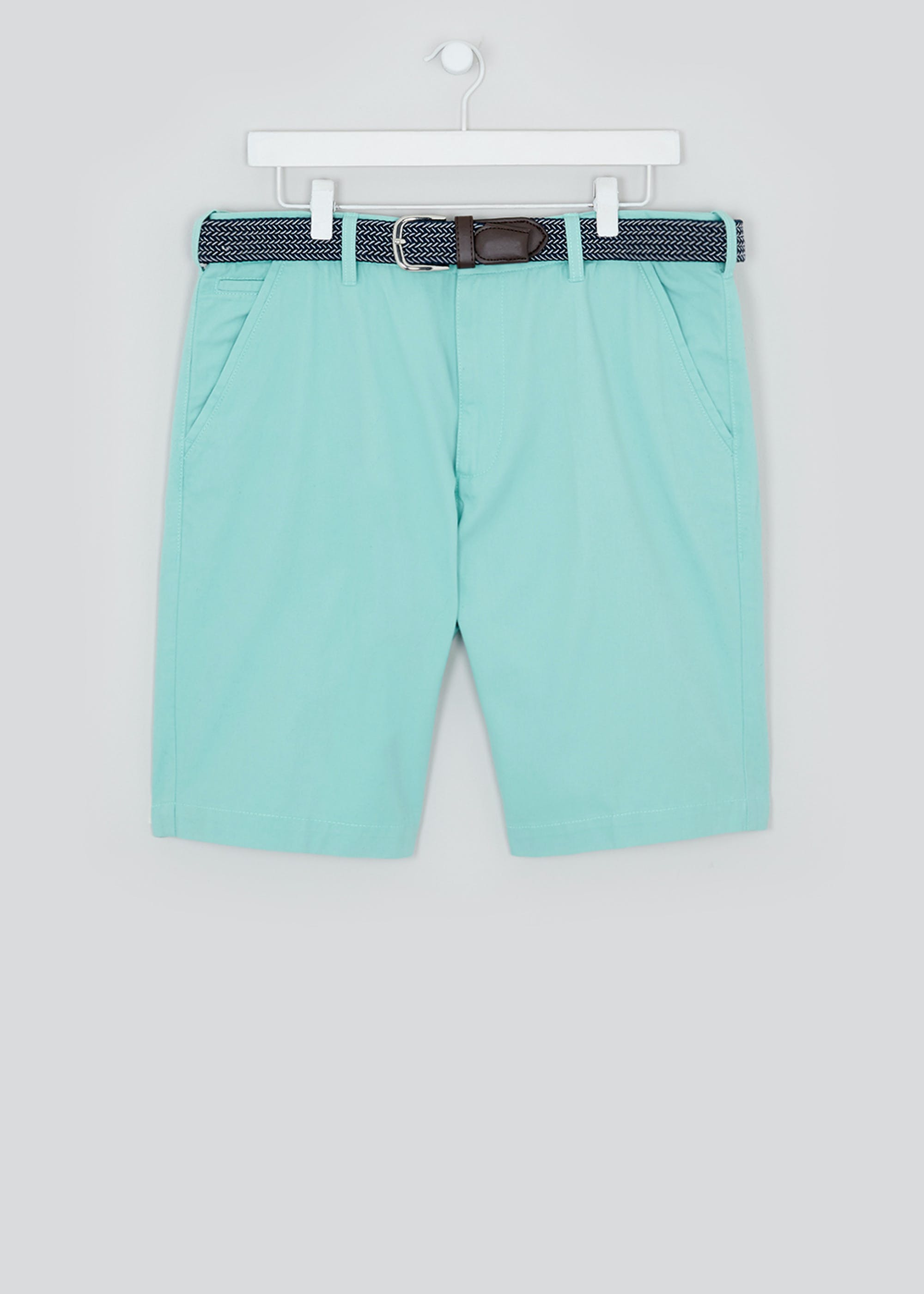 Lincoln Belted Chino Shorts Turquoise MUOz7K