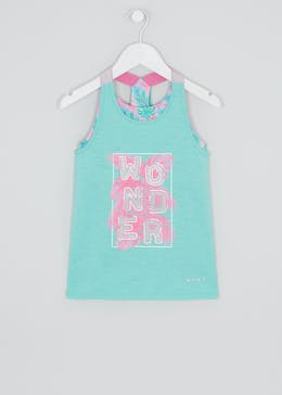 Girls Souluxe 2 in 1 Wonder Leaf Print Sports Vest (4-13yrs)