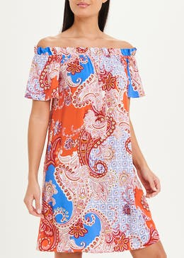 Viscose Printed Bardot Dress