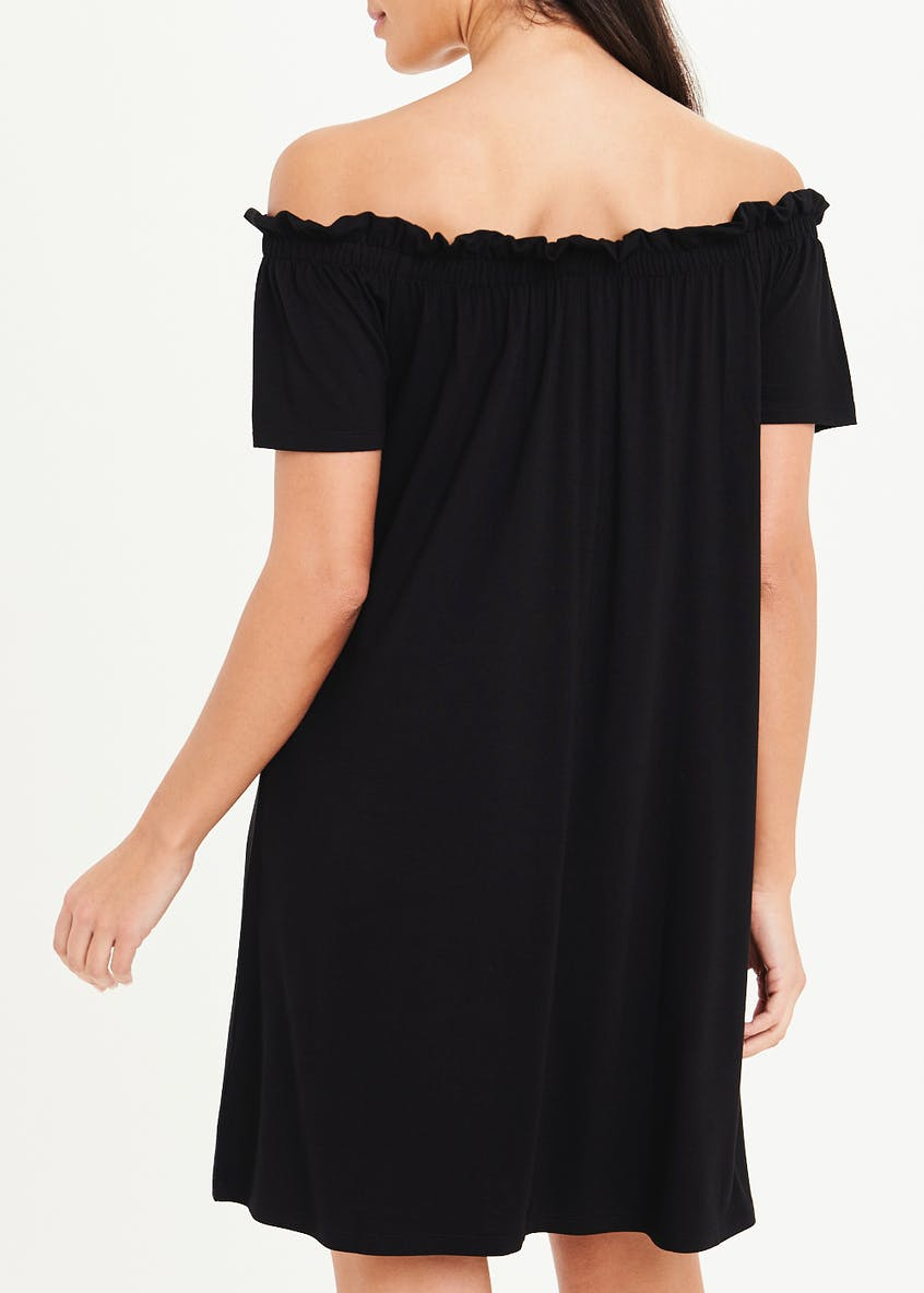 Black Jersey Bardot Dress