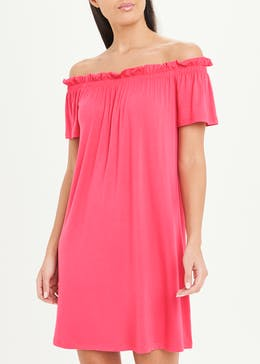 Pink Jersey Bardot Dress