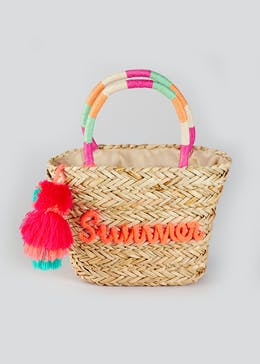 Girls Mini Me Summer Slogan Basket Bag