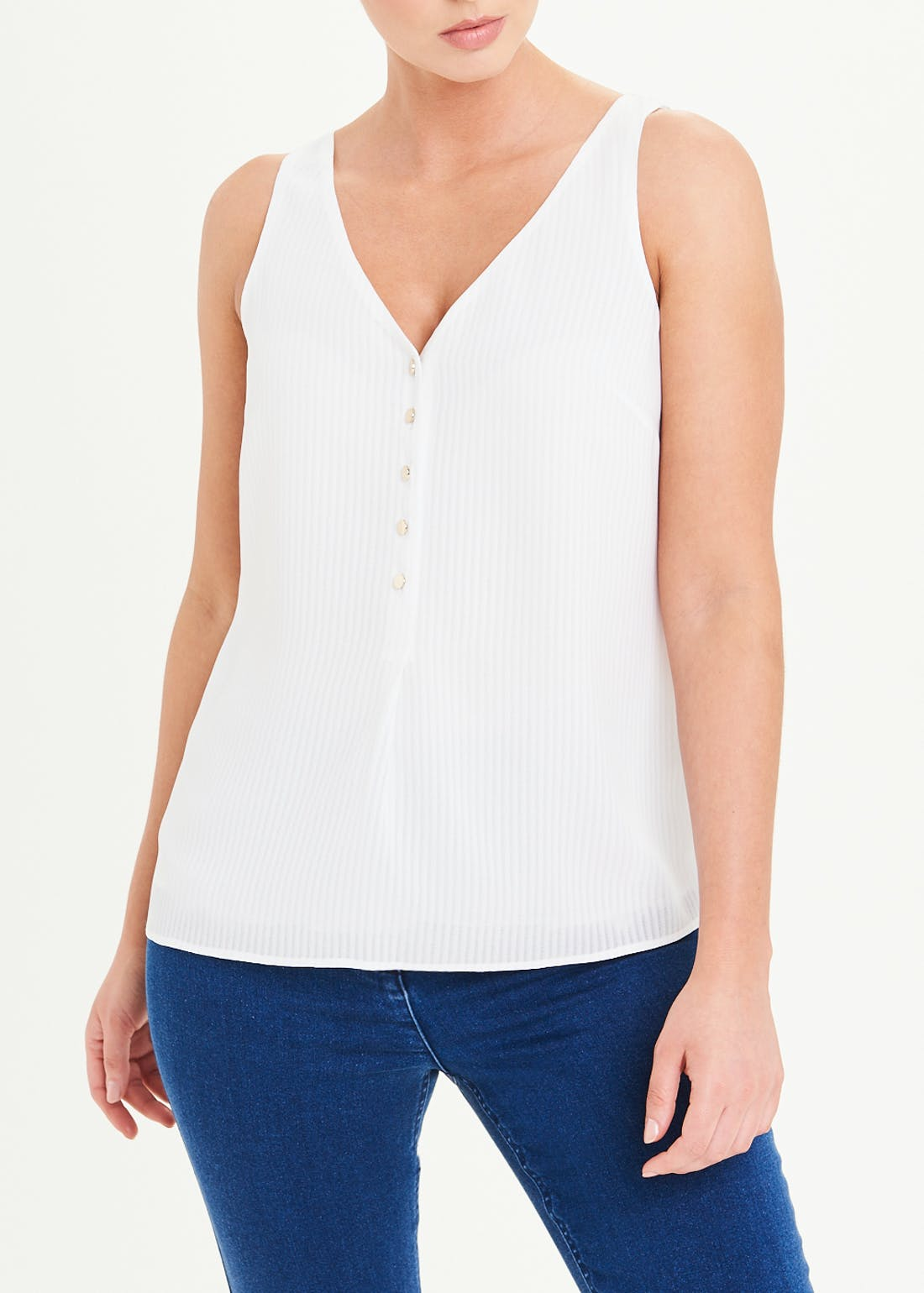Soon Cream Textured Button Front Vest Top