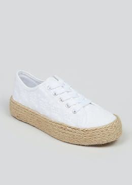 Girls White Lace Up Espadrilles (Younger 10-Older 5)