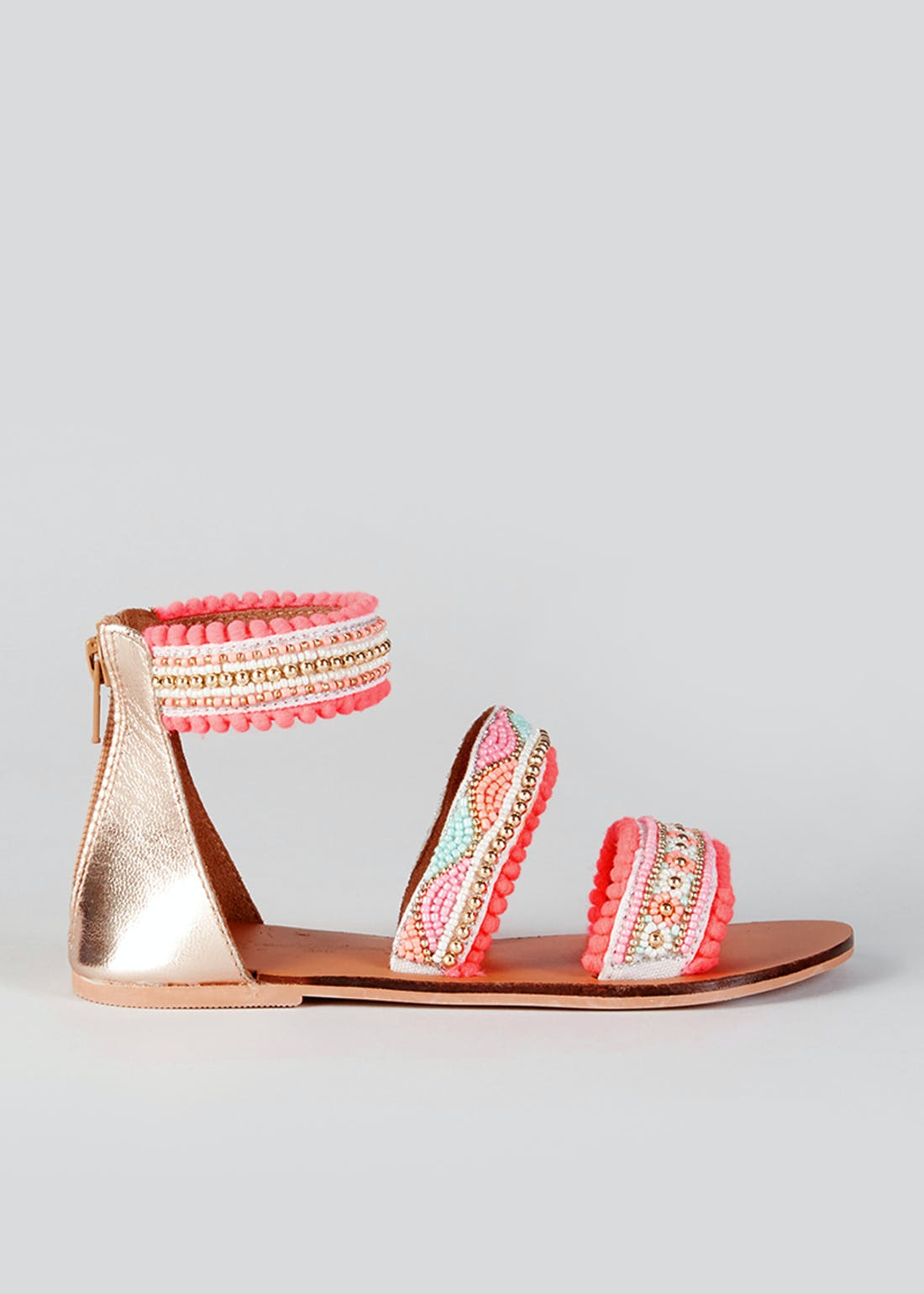 Girls Pink Leather Beaded Sandals (Younger 10-Older 5)
