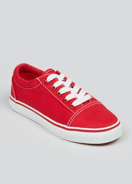 Boys Red Canvas Trainers (Younger 10-Older 6)
