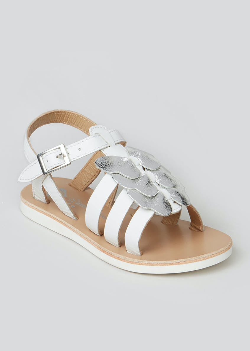 Girls White Leather Bow Sandals (Younger 4-12)