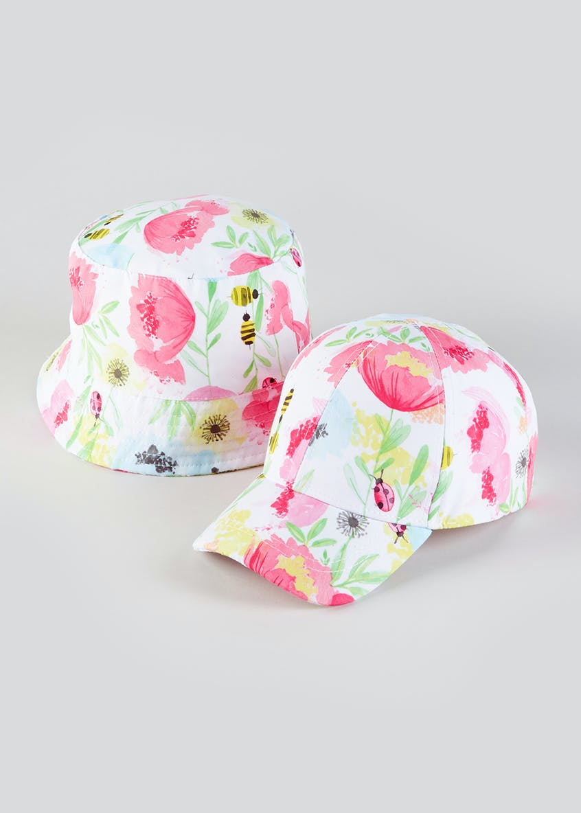 Girls 2 Pack Floral Hats (3-6yrs)