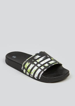 Boys Black Palm Tree Sliders (Younger 10-Older 6)
