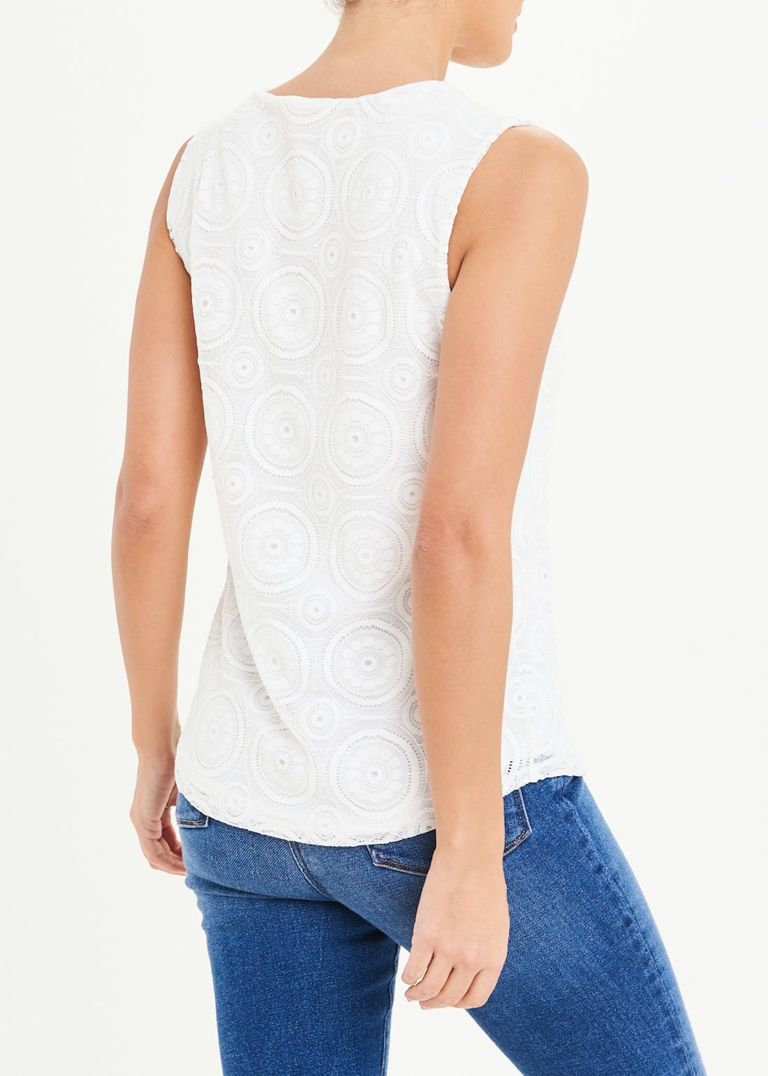 White Lace Overlay Vest Top