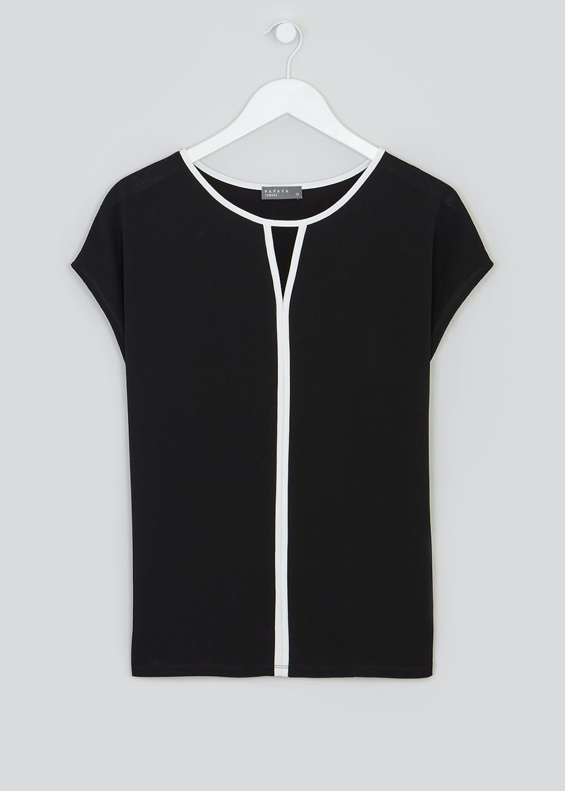 Short Sleeve Cut Out Piped Front Top