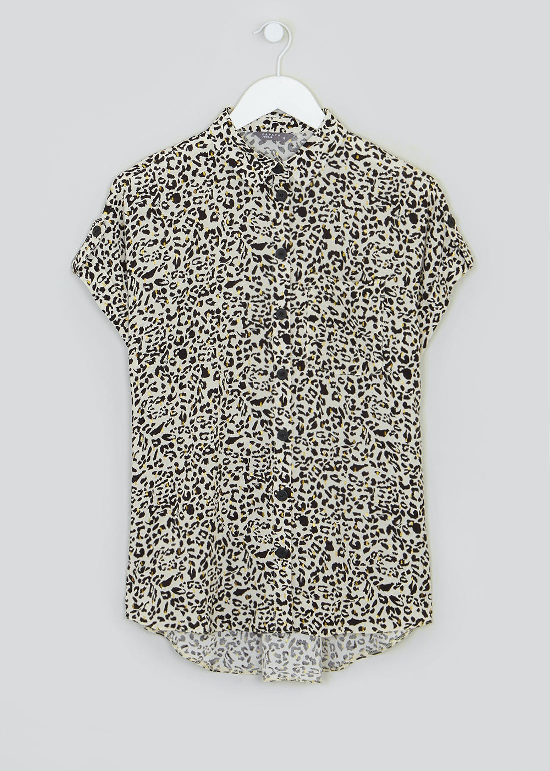 Short Sleeve Animal Print Button Shirt
