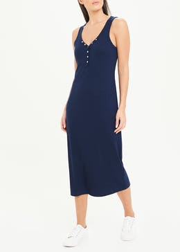 Navy Sleeveless Ribbed Jersey Popper Midi Dress