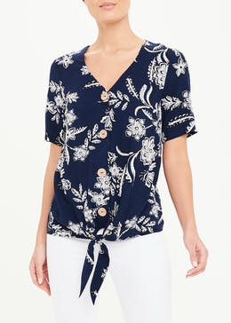 Short Sleeve Floral Button Tie Front Top