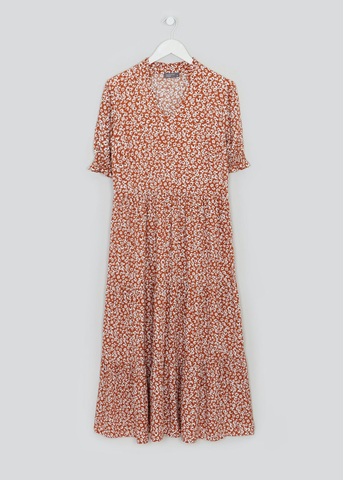 Brown Short Sleeve Floral Tiered Midi Dress