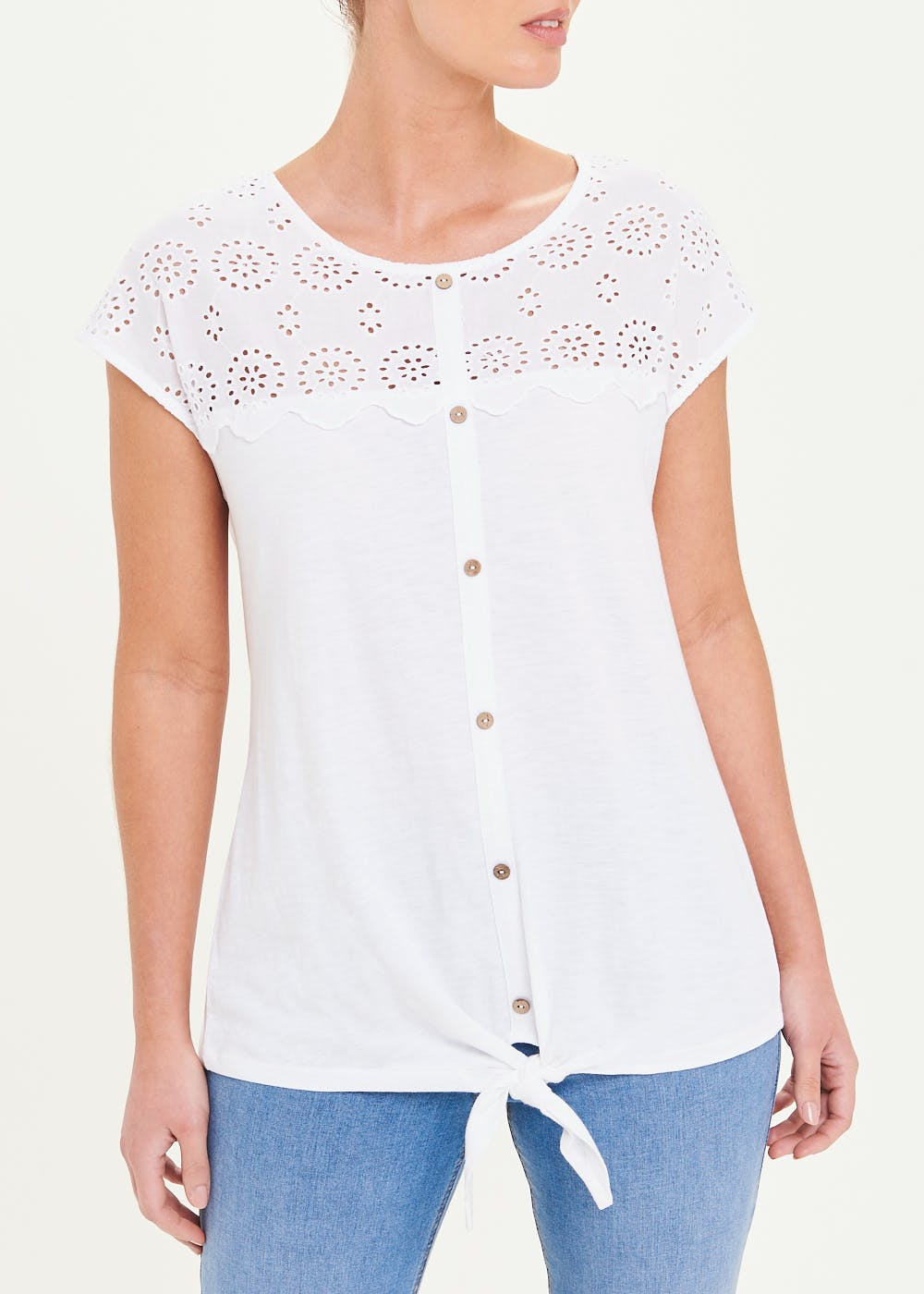 Broderie Button Front T-Shirt – White