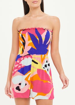 Abstract Print Shirred Bandeau Playsuit