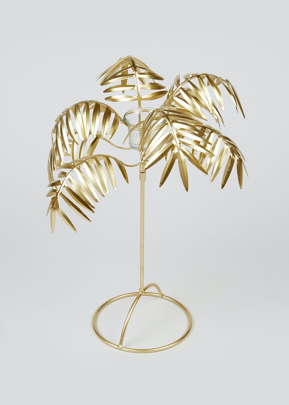Metallic Palm Tree Tealight Holder (45cm x 35cm x 35cm)