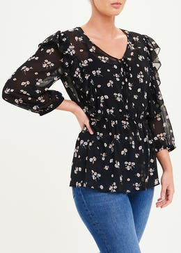 Black 3/4 Sleeve Sheer Floral Ruffle Blouse