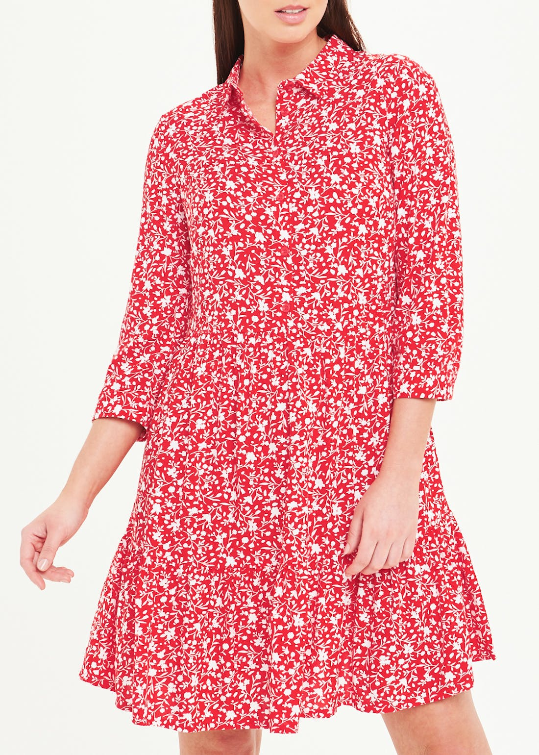 Red 3/4 Sleeve Floral Tiered Shirt Dress