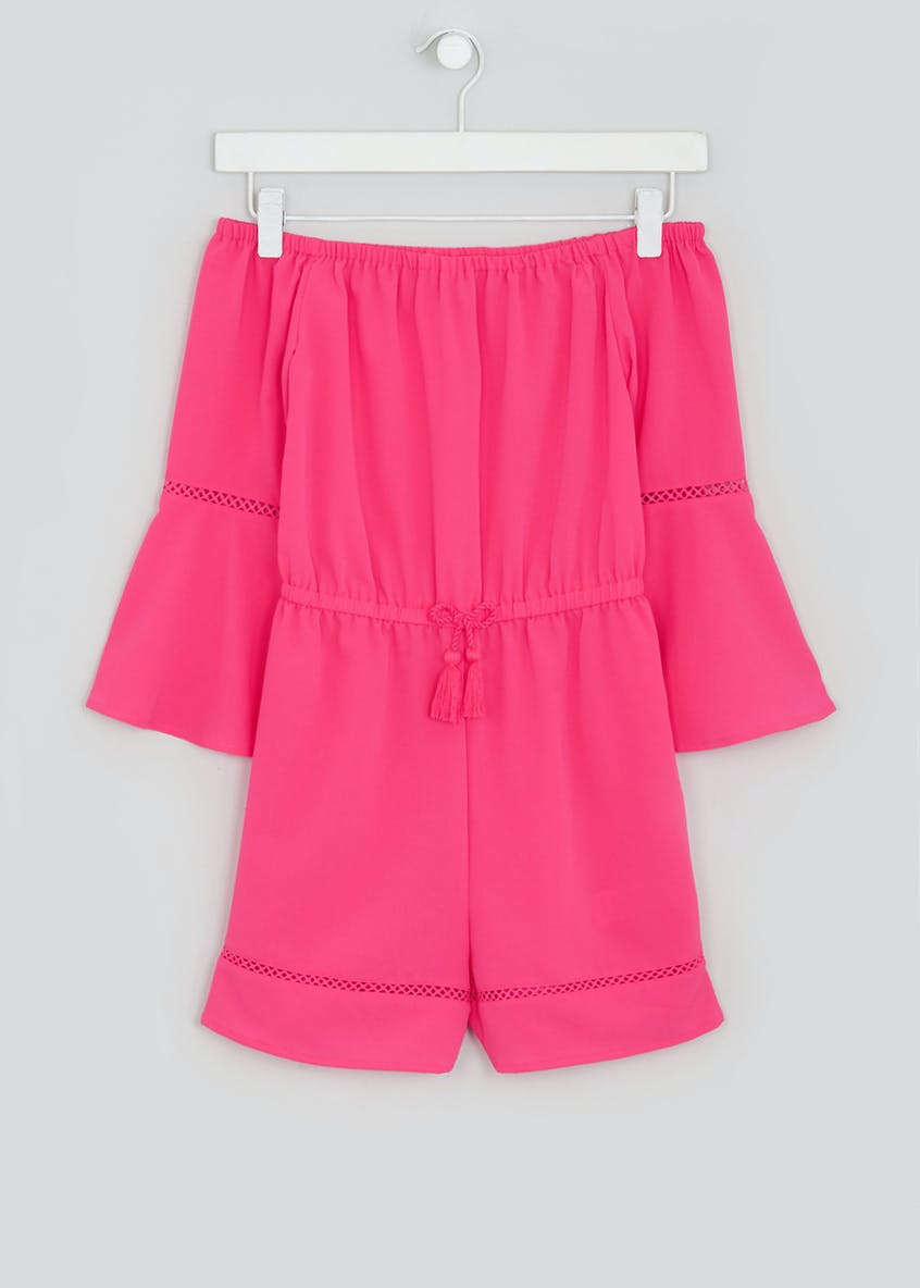 Girls Candy Couture Pink Bardot Playsuit (9-16yrs)