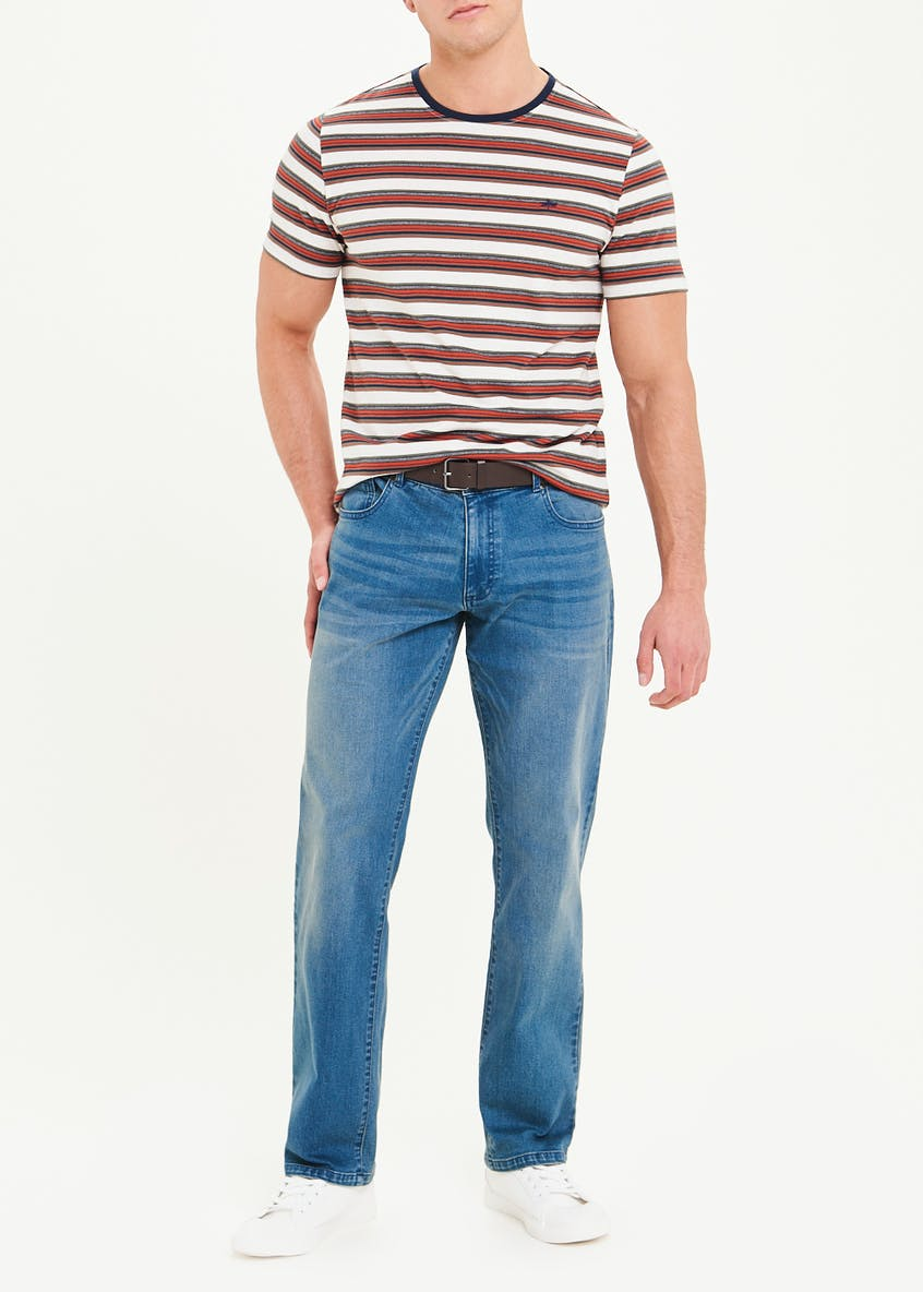 Belted Stretch Straight Fit Jeans