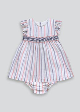 Girls Stripe Smock Dress (Newborn-23mths)