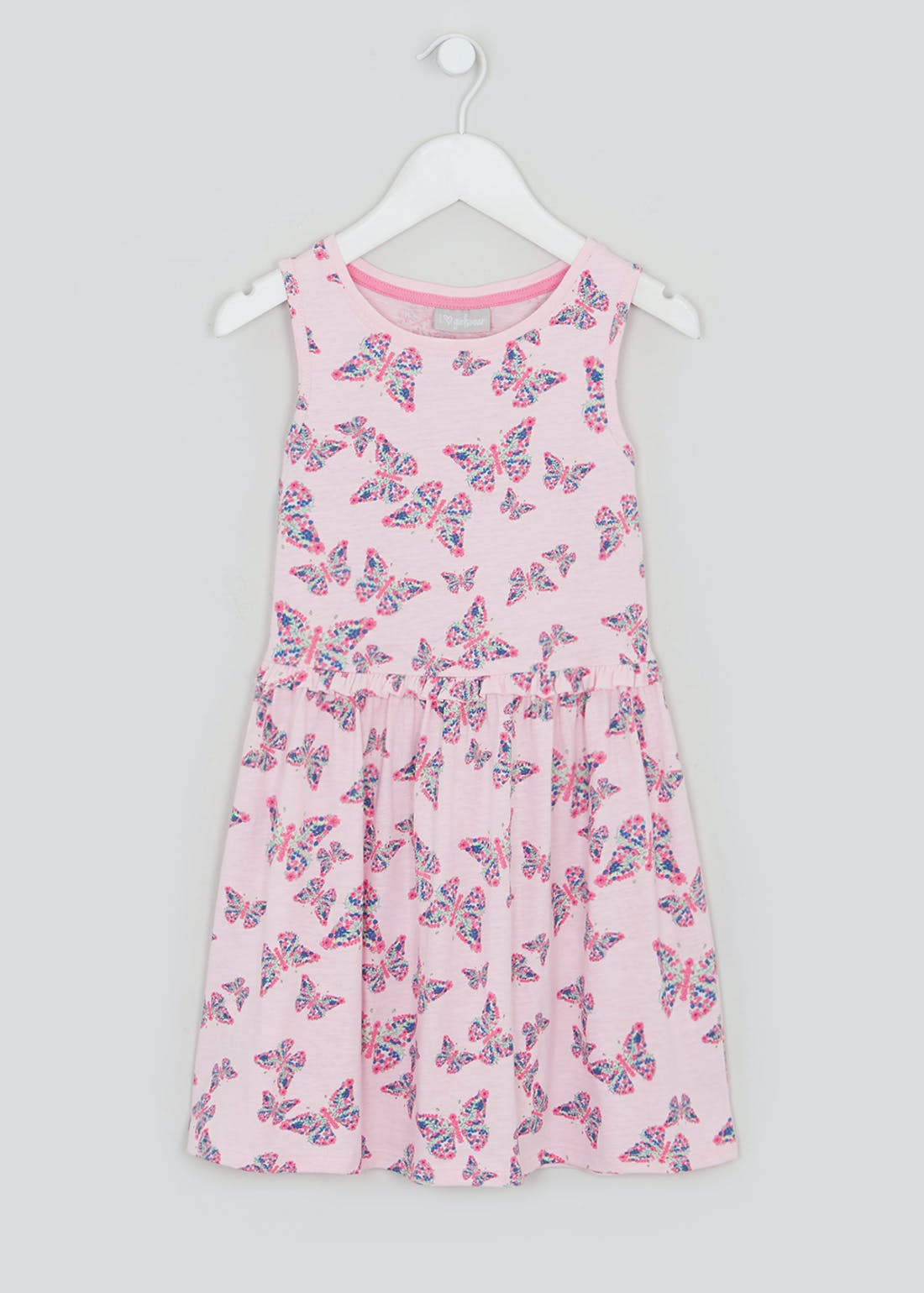 Girls Pink Butterfly Jersey Dress (4-13yrs)