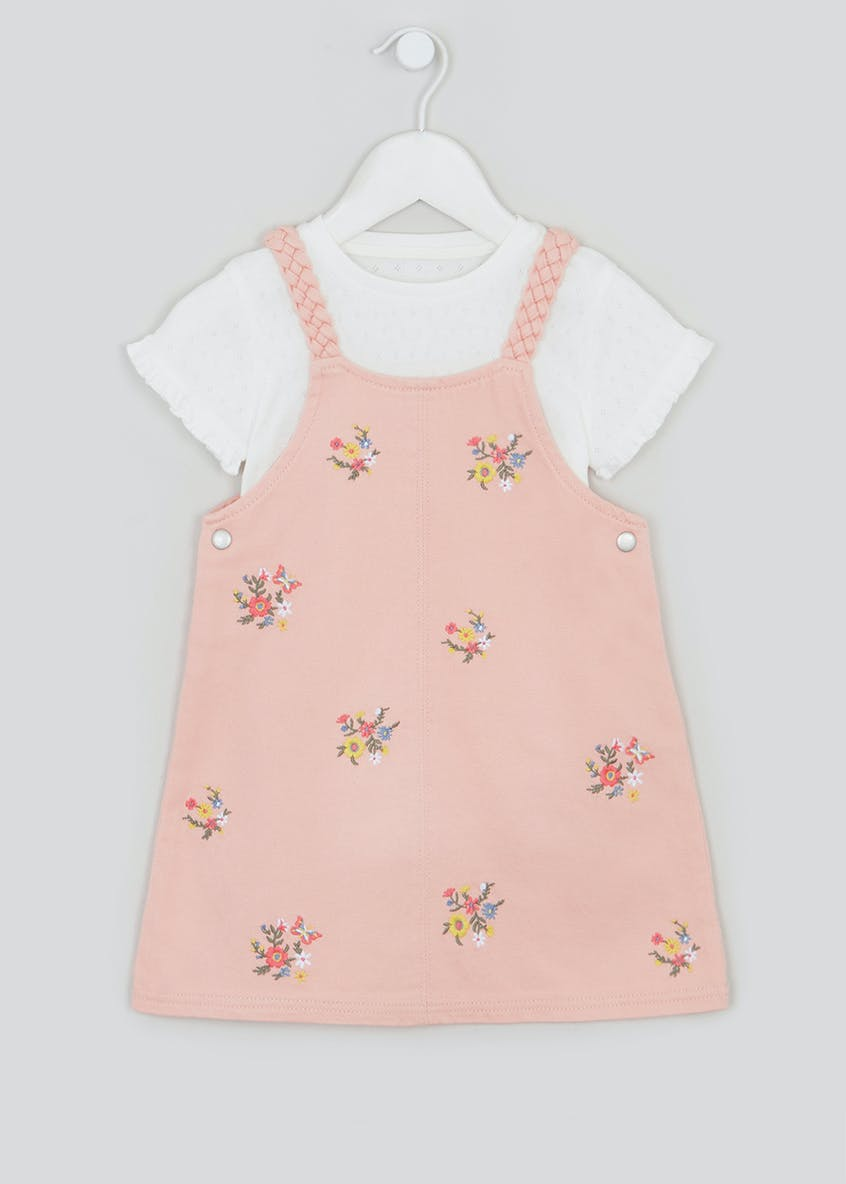 Girls Pink Denim Pinafore & Top Set (9mths-6yrs)