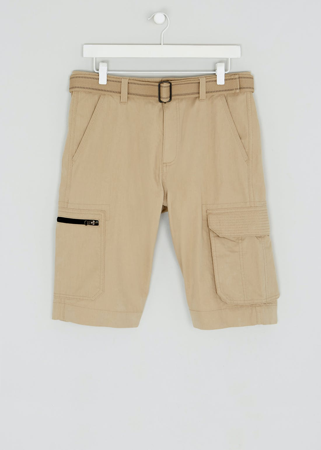 Big & Tall Straight Fit Belted Cargo Shorts