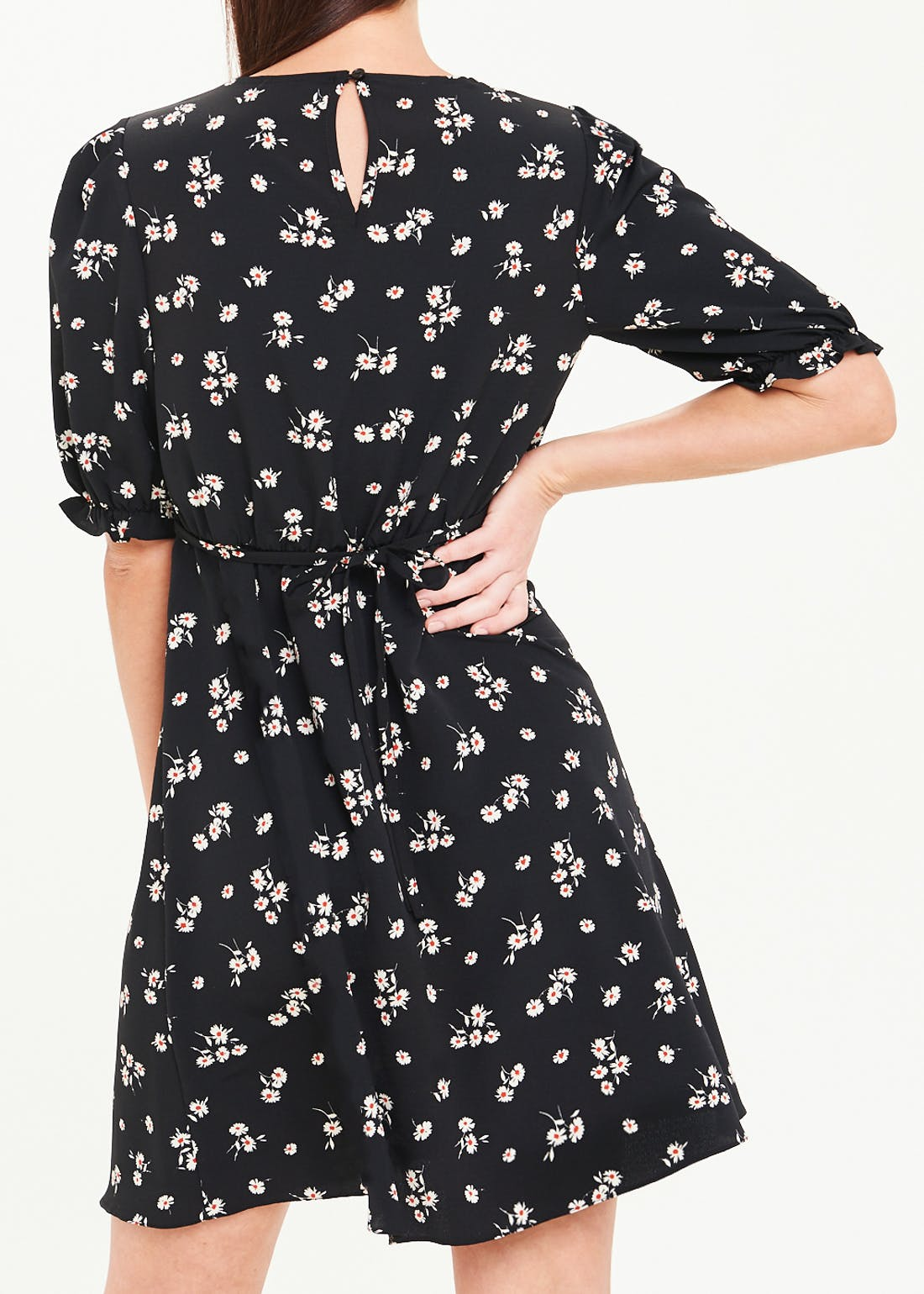 Black Puff Sleeve Floral Dress