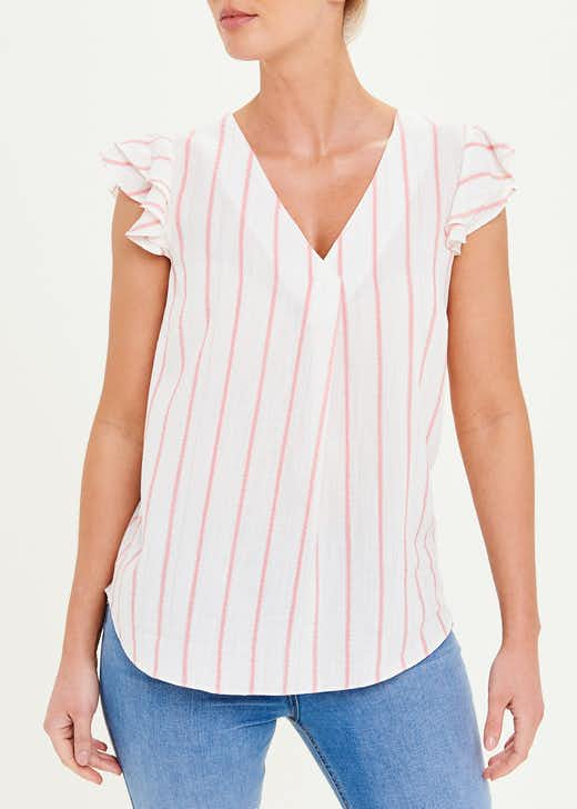 Frill Sleeve Sparkle Stripe Blouse
