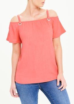 Textured Eyelet Cold Shoulder Top