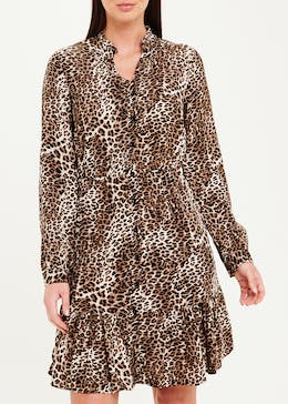 Long Sleeve Leopard Print Tiered Dress