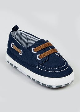 Boys Navy Soft Sole Boat Shoes (Newborn-18mths)