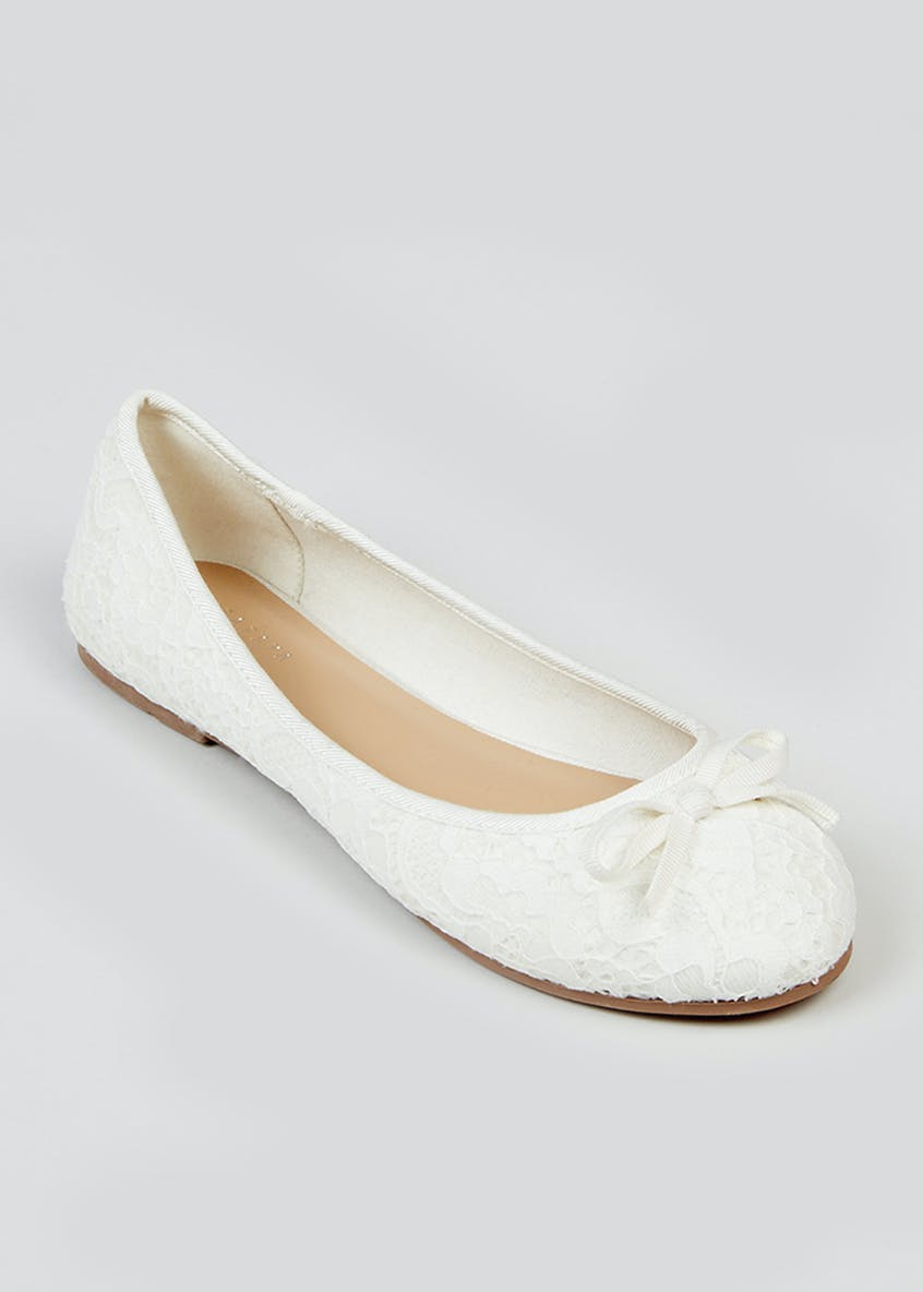 Wide Fit White Ballet Shoes