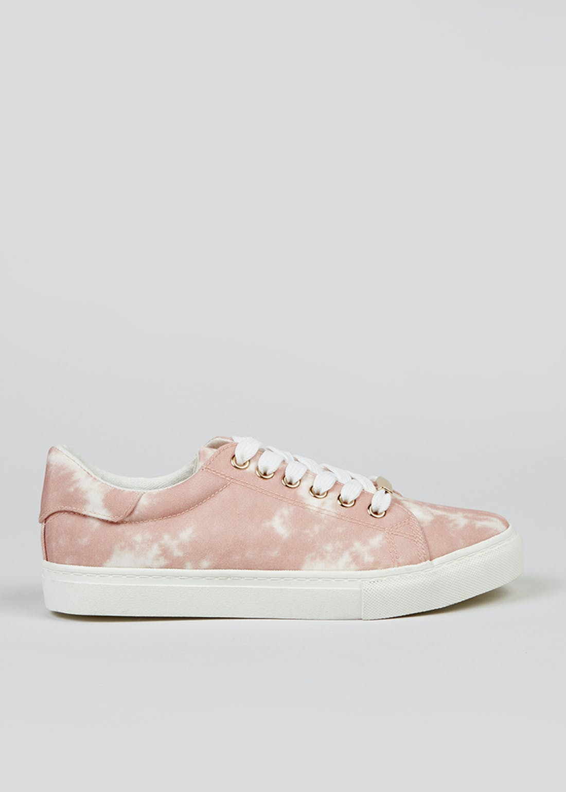 Pink Tie Dye Lace Up Trainers