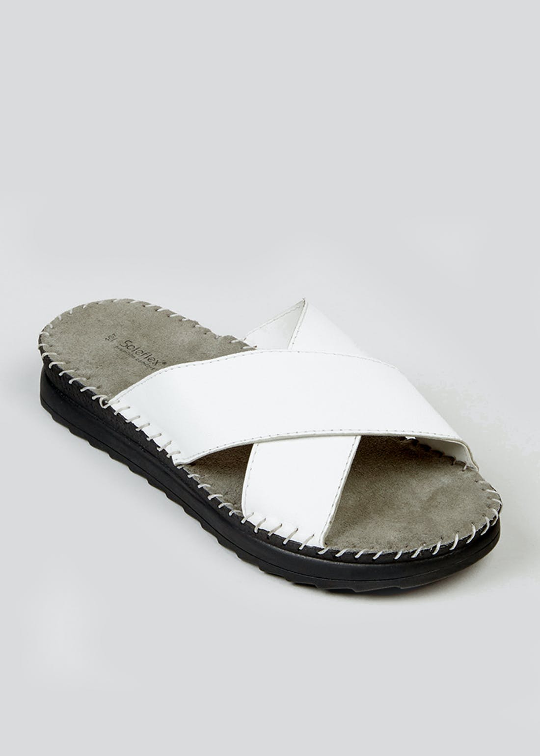 Soleflex White Real Leather Mules