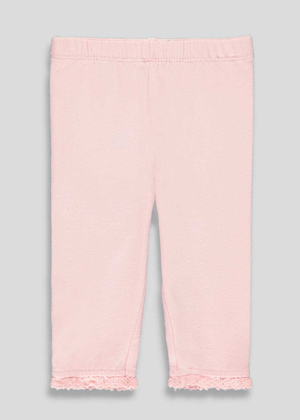 Girls Lace Trim Leggings (Tiny Baby-23mths) – Pink