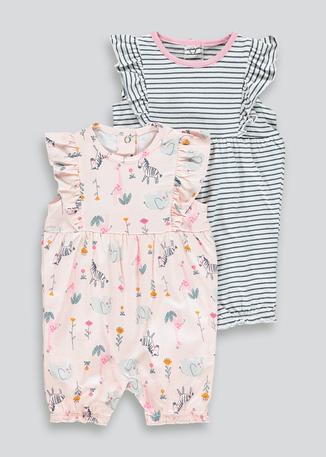 Girls 2 Pack Rompers (Tiny Baby-18mths)
