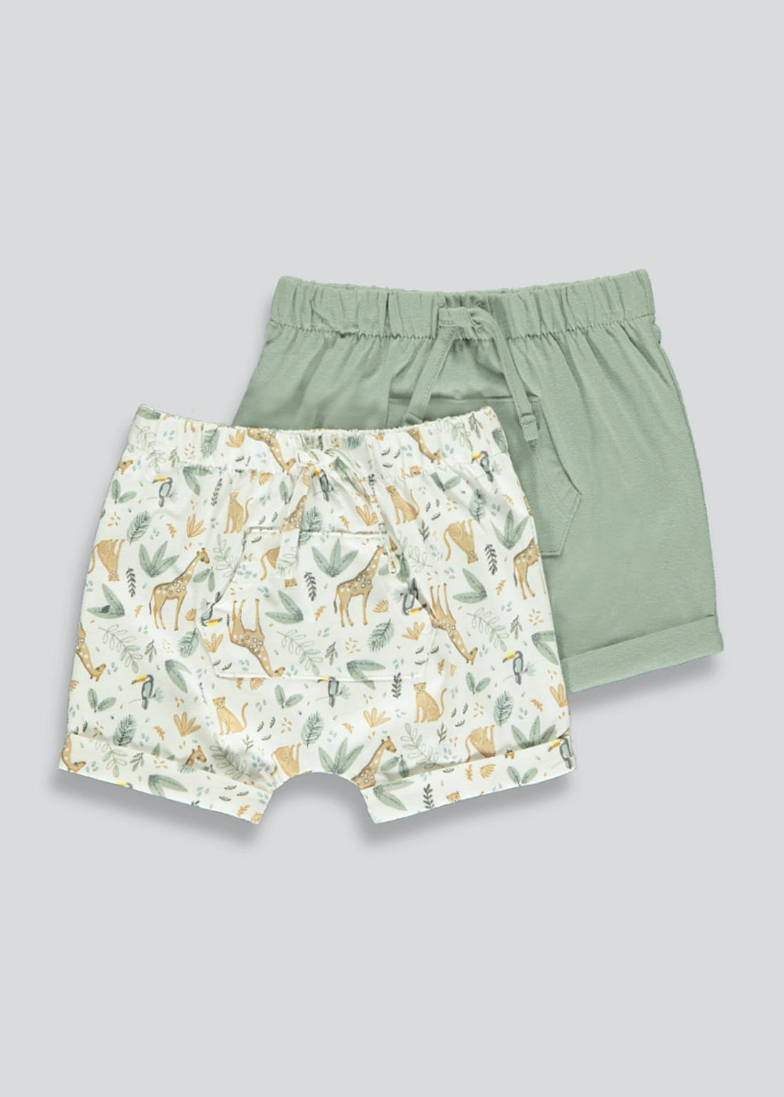 Boys 2 Pack Safari Shorts (Newborn-23mths)